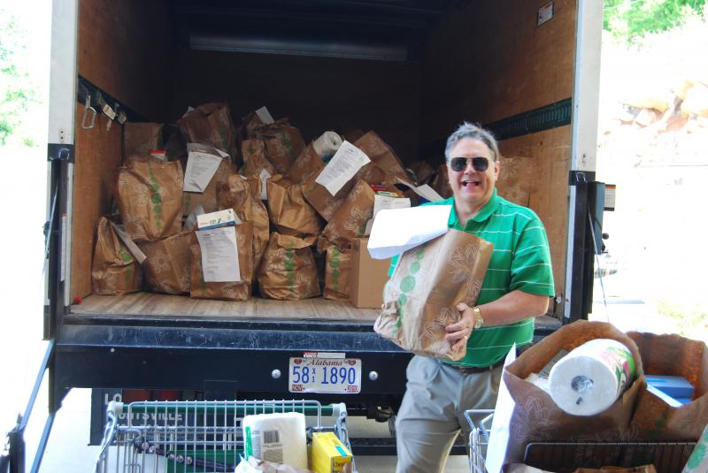 Unloading Food Drive Donations